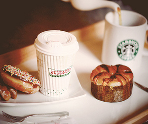 food, coffee, and starbucks image