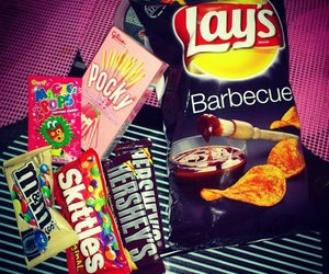 chocolate, skittles, and lays image