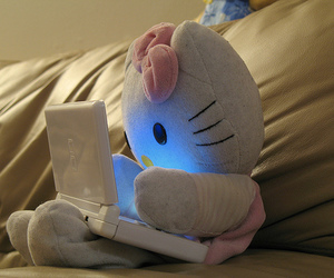 hello kitty, pink, and laptop image
