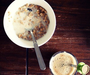 breakfast, cereal, and coffee image