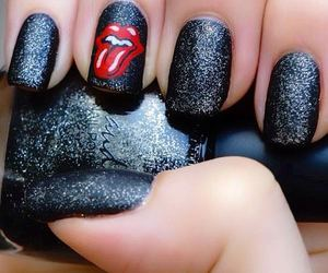 nails, black, and rolling stones image