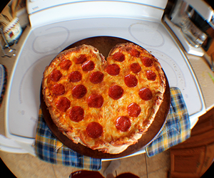 pizza, heart, and love image