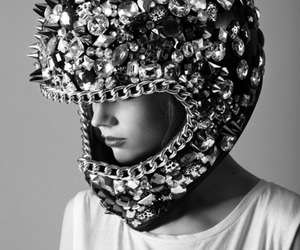 helmet, black and white, and model image
