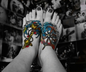 tattoo, feet, and anchor image