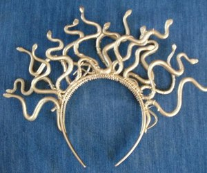 medusa, headband, and gold image