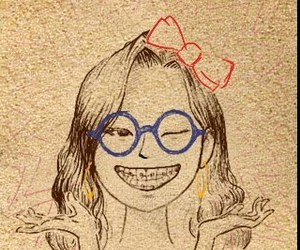 girl, braces, and glasses image