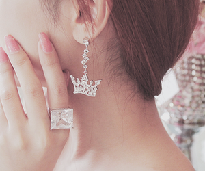 crown, silver, and earrings image