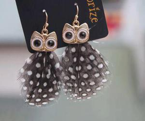 owl, earrings, and feather image