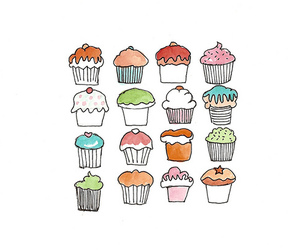 cupcake, drawing, and food image