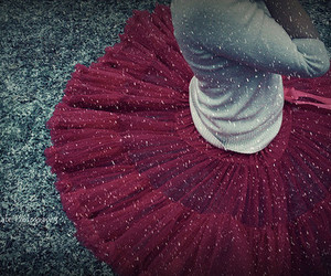 snow, red, and skirt image