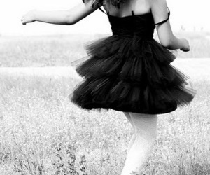 dress, girl, and black and white image