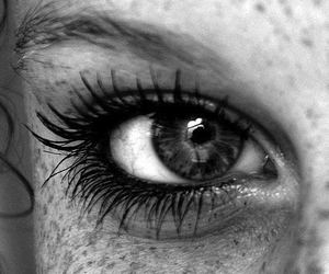 black and white, freckles, and eye image