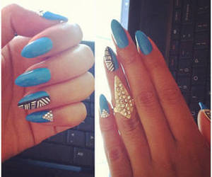 blue, blue nails, and perfect image