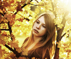 beautiful, freckles, and leaves image