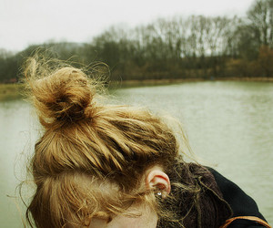 girl, hair, and lake image
