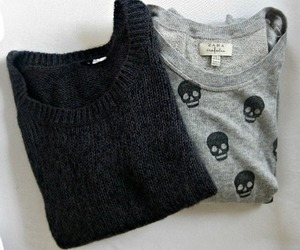 grey, skulls, and sweaters image