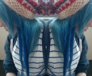 blue hair, colorful, and gitl image