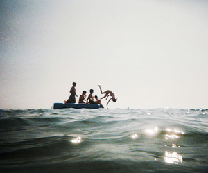 sea, friends, and water image