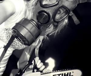 chainsaw, gas mask, and xutzy image