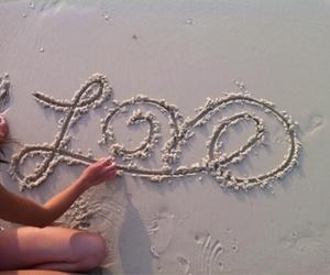 love, beach, and sand image