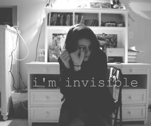 invisible, black and white, and sad image