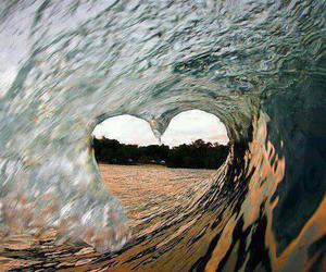heart, wave, and ocean image