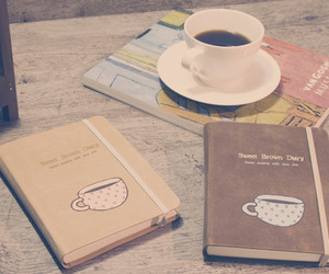 coffee, book, and diary image
