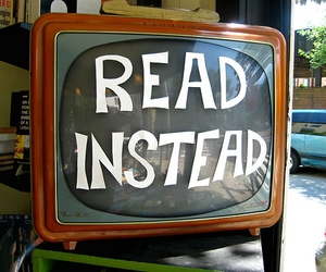 read, tv, and book image