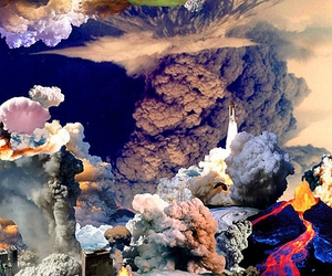 art, clouds, and Collage image