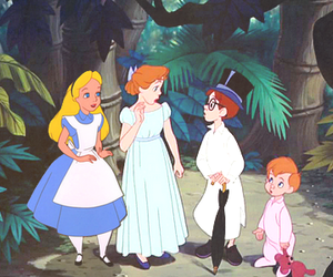 alice, peter pan, and wonderland image