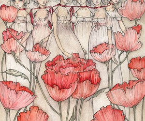 drawing, red, and flowers image