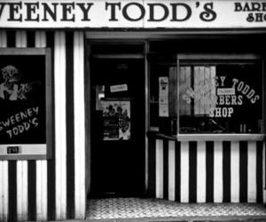 sweeney todd, black and white, and barber image