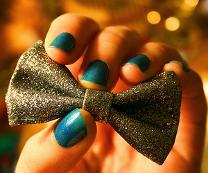 nails, bow, and blue image