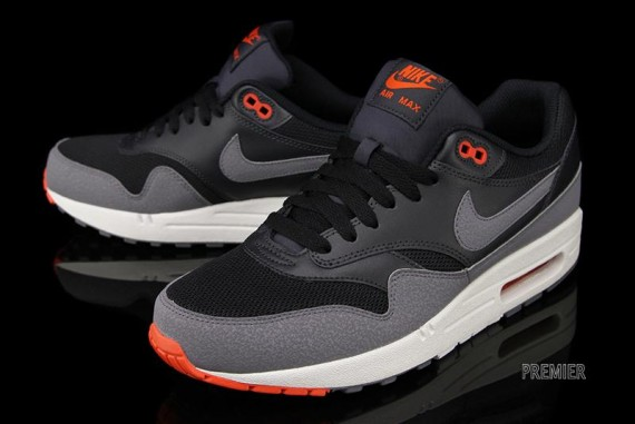 24ed327f16e ... clearance nike air max 1 essential black cool grey team orange f7658  8671c