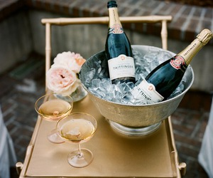 champagne, drink, and flowers image