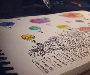 art, house, and balloons image