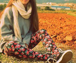 girl, flowers, and scarf image