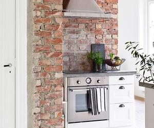 kitchen, brick, and interior image