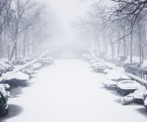canal, winterscape, and serenity image