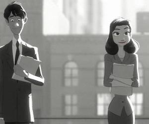 paperman, black and white, and disney image
