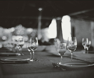 black and white, chic, and dinner image