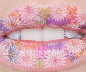 lips, flowers, and pink image