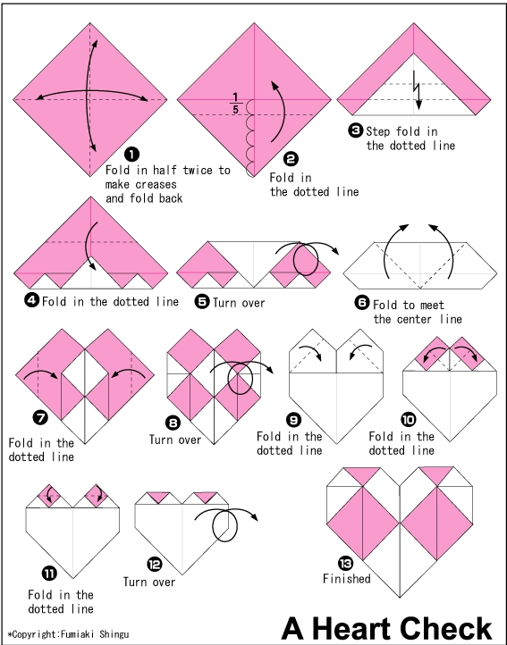 Origami Puffy Heart Instructions | 722x567