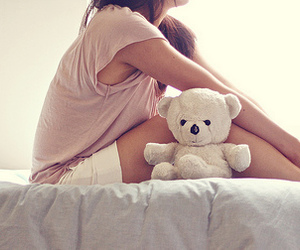 bear, bed, and girl image