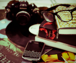 blackberry, camera, and book image