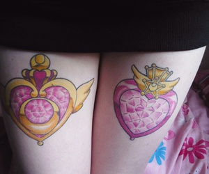 tattoo, sailor moon, and pink image