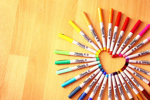 colores, Sharpie, and corazon image