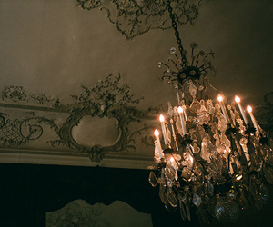 vintage, candle, and chandelier image
