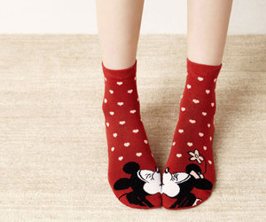 cute, socks, and red image