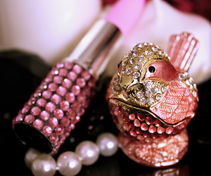 pink, bird, and pearls image